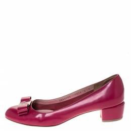 Salvatore Ferragamo Burgundy Leather Vara Bow Block Heel Pumps Size 39.5 286322