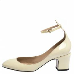 Valentino Cream Patent Leather Tango Ankle Strap Pumps Size 37 286329