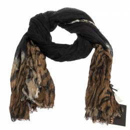 Roberto Cavalli Black & Brown Animal Print Cashmere Blend Scarf 284643