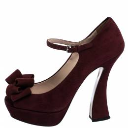 Miu Miu Burgundy Suede Leather Mary Jane Bow Peep Toe Platform Pumps Size 38 286118