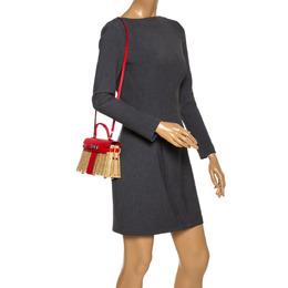 Hermes Rouge Swift Leather and Osier Palladium Hardware Picnic Mini Kelly Bag 286063