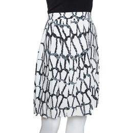 Joseph Monochrome Rope Printed Silk Pleated Skirt M 285693