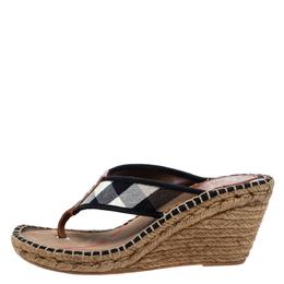 Burberry Beige/Black Novacheck Canvas Espadrille Thong Wedge Sandals Size 39 286305