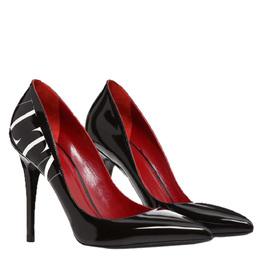 Valentino Black Patent Leather VLTN Pumps Size 38.5 295885
