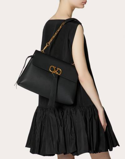 Valentino Black Grainy Leather Medium VRING Chain Shoulder Bag 294490 - 1