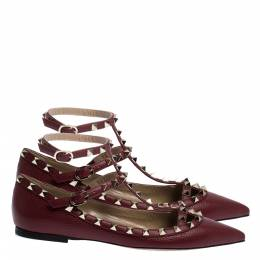 Valentino Bordeaux Leather Rockstud Ankle Strap Ballet Flats Size 40 294493