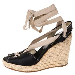 Prada Black Satin Espadrille Wedge Platform Ankle Wrap Sandals Size 38 286267
