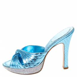 Rene Caovilla Metallic Blue Crystal Embellished Python Embossed Leather Knot Platfrom Sandals Size 38 286467