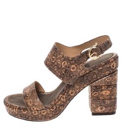 Salvatore Ferragamo Black/Peach Snakeskin Embossed Leather Madrina Platform Sandals Size 39 286473