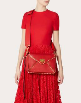 Valentino Rouge Pur Smooth Leather Rockstud Hype Shoulder Bag 294819