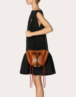 Valentino Tan Leather Medium VLOGO Bucket Bag 294494