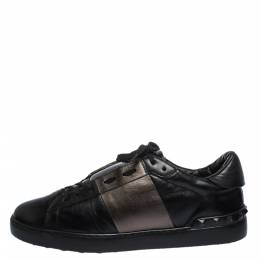 Valentino Black Leather Rockstud Lace Low Top Sneakers Size 43 286494