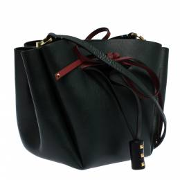 Valentino Green Leather Medium VLOGO Bucket Bag 294993