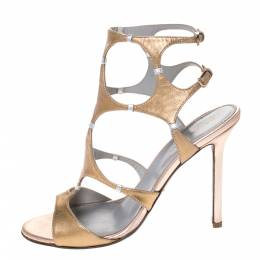 Sergio Rossi Metallic Gold Leather Ankle Strap Sandals Size 37 286195