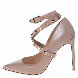 Valentino Beige Leather Rockstud Ankle Wrap Pointed Toe Pumps Size 38 286318