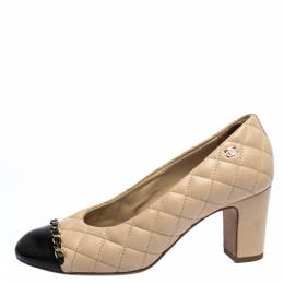 Chanel Beige/Black Quilted Leather Chain Detail Block Heel Pumps Size 36 286315
