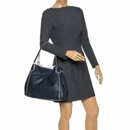 Coach Navy Blue/White Leather Hadley Shoulder Bag 286227
