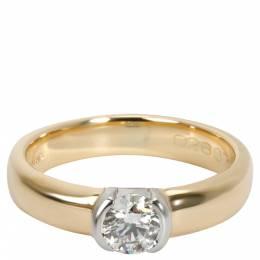 Tiffany & Co. Semi Bezel 0.35 CTW Diamond 18K Yellow And White Gold Engagement Ring Size 48 284816