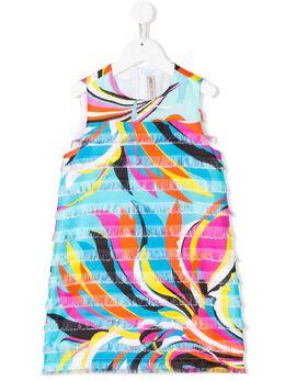 Emilio Pucci Junior платье-трапеция с бахромой и абстрактным принтом 9M1252MC730