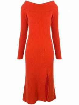 The Elder Statesman платье в рубчик с открытыми плечами 200007