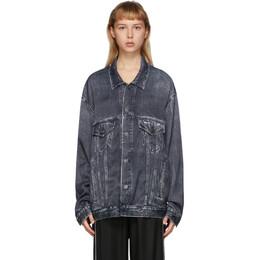 Balenciaga Black Satin Oversize Trompe LOeil Jacket 621574-TIW57