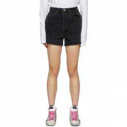 Re/Done Black Denim 50s Cut-Off Shorts 166-3W5CO