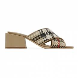 Burberry Beige Check Latticed Heeled Sandals 8027430