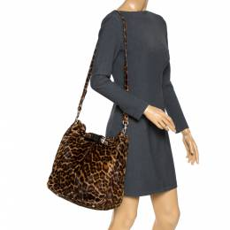 Mulberry Brown Leopard Print Calfhair Shoulder Bag 286543