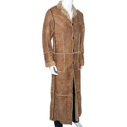 Dolce&Gabbana Beige Leather Fur Lined Long Coat S 286234