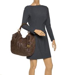Michael Kors Brown Python Embossed Nubuck Leather Chain Shoulder Bag 286239