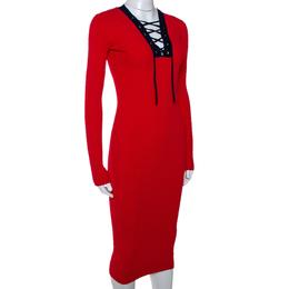 Diane Von Furstenberg Bright Red Rib Knit Lace Up Midi Dress XXS 286148