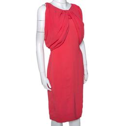 Max Mara Coral Pink Stretch Crepe Draped Sheath Dress L 286456