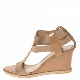Fendi Beige Patent Leather And Elastic T-Strap Wedge Espadrille Sandals Size 39 286258