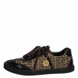 Fendi Brown Zucchino Canvas and Leather Low Top Sneakers Size 41 286495