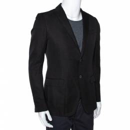 Gucci Black Cotton Lino Blend Two Buttoned Jacket M 286491
