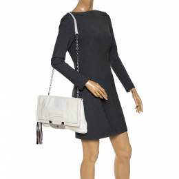 Diane Von Furstenberg White Leather Harper Shoulder Bag 286526