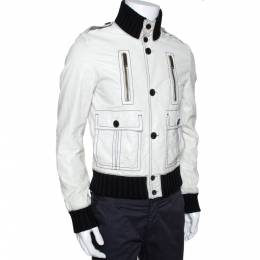 Gucci White Leather Rib Knit Trim Bomber Jacket M 286344