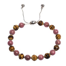 Gucci Bi-color Stone & Wood Beaded Silver Adjustable Bracelet 286401