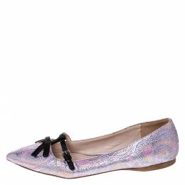 Miu Miu Purple Brocade Lurex And Satin Trim Giada Bow Pointed Toe Ballet Flats Size 40 286165
