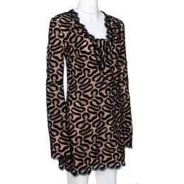 Stella McCartney Black Ribbon Lace Patterned Shift Dress S 286522