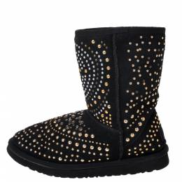 Jimmy Choo x Uggs Black Studded Suede Mandah Boots Size 40 287005