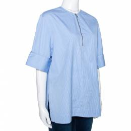 Joseph Blue Pinstripe Cotton Brair Blouse L 286375