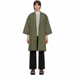 Naked And Famous Denim SSENSE Exclusive Green Oxford Overcoat SSE258567