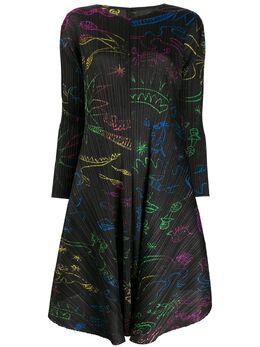 Pleats Please Issey Miyake плиссированное платье с принтом PP98JH715