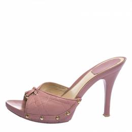Dior Pink Cannage Leather Platform Open Toe Sandals Size 37.5 286493