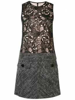 Paule Ka кружевное платье-трапеция с твидовым подолом 140R106C