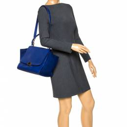 Celine Two Tone Blue Leather and Suede Medium Trapeze Bag 286207
