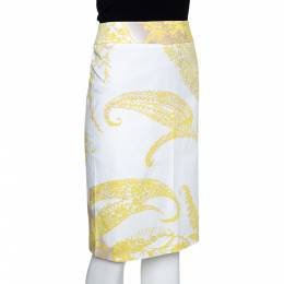 Max Mara Yellow Paisley Print Stretch Cotton Pencil Skirt M 286595