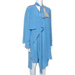 Fendi Blue Silk Neck Tie Detail Draped Asymmetrical Dress S 286597