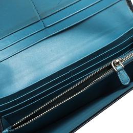 Prada Navy Blue Saffiano Leather Flap Continental Wallet 287064